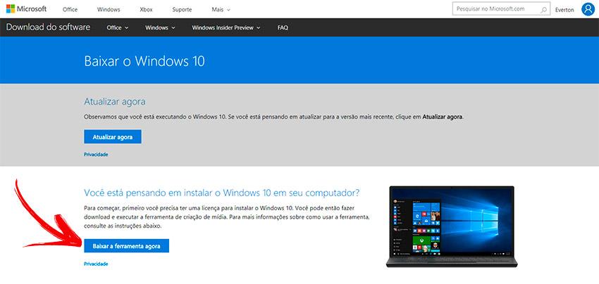 Fazer pendrive de instalação com Windows 10 Português