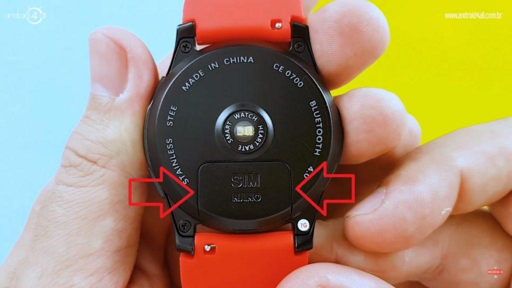 Entrada para nano SIM do smartwatch