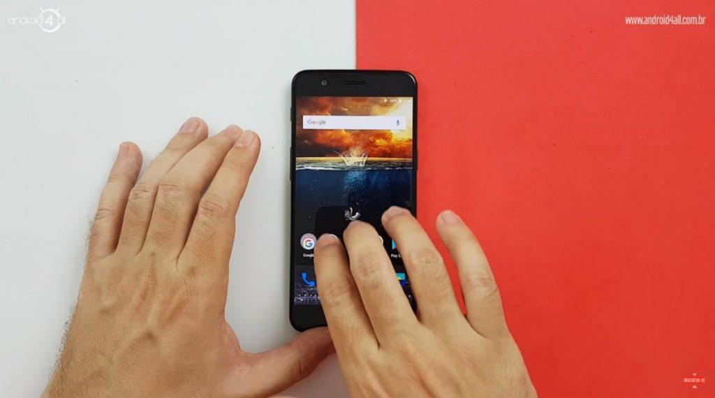 Fazendo captura de tela com 3 dedos