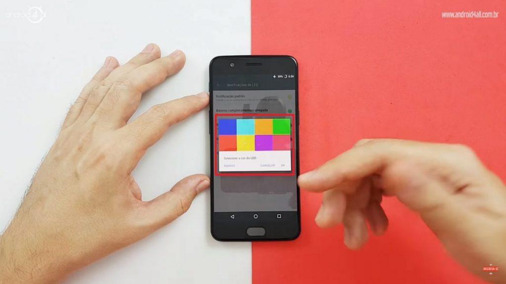 Opções de cor do LED de notificação do OnePlus 5