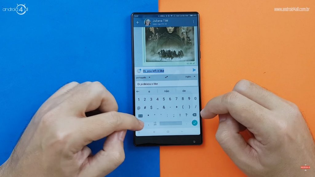 Enviando textos traduzidos diretamente do teclado do Google